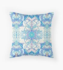 Teal Blue, Pearl & Pink Floral Pattern Throw Pillow