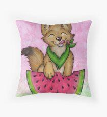 Melon Coyote - A Summertime Treat! Throw Pillow