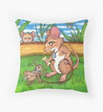 The Cricket Trainer - A Mouse's Pet Throw Pillow