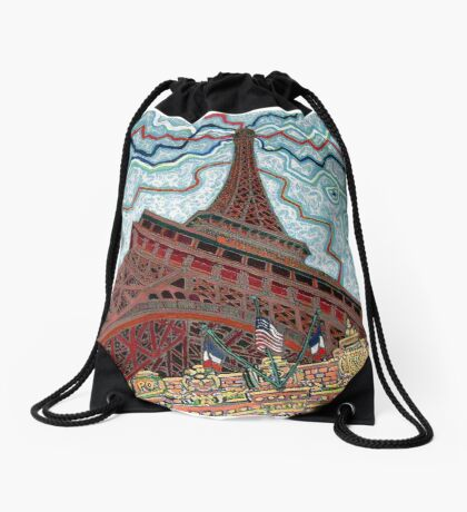 Paris, France, Las Vegas, Nevada, USA Drawstring Bag