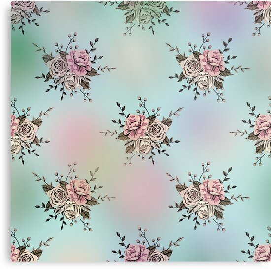 Dreamy Blue Pink shabby chic French Country Rose Floral Print