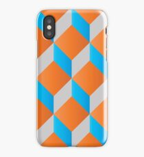 Geometric 3d cube pattern - retro design - blue ,orange iPhone Case/Skin