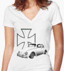 Iron Cross VW Bug Women's Fitted V-Neck T-Shirt