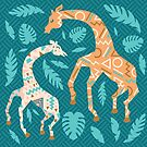 Dancing Giraffe in Peach + Teal by latheandquill
