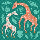 Dancing Giraffes in Pink + Teal Green by latheandquill