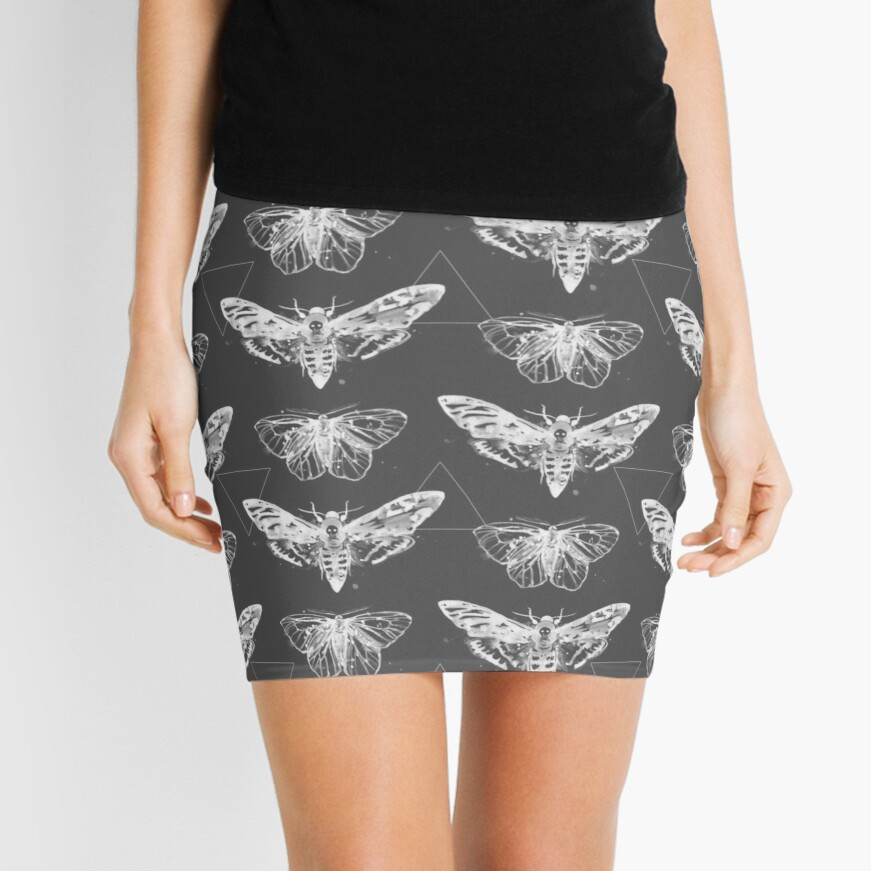 Geometric Moths - inverted Mini Skirt