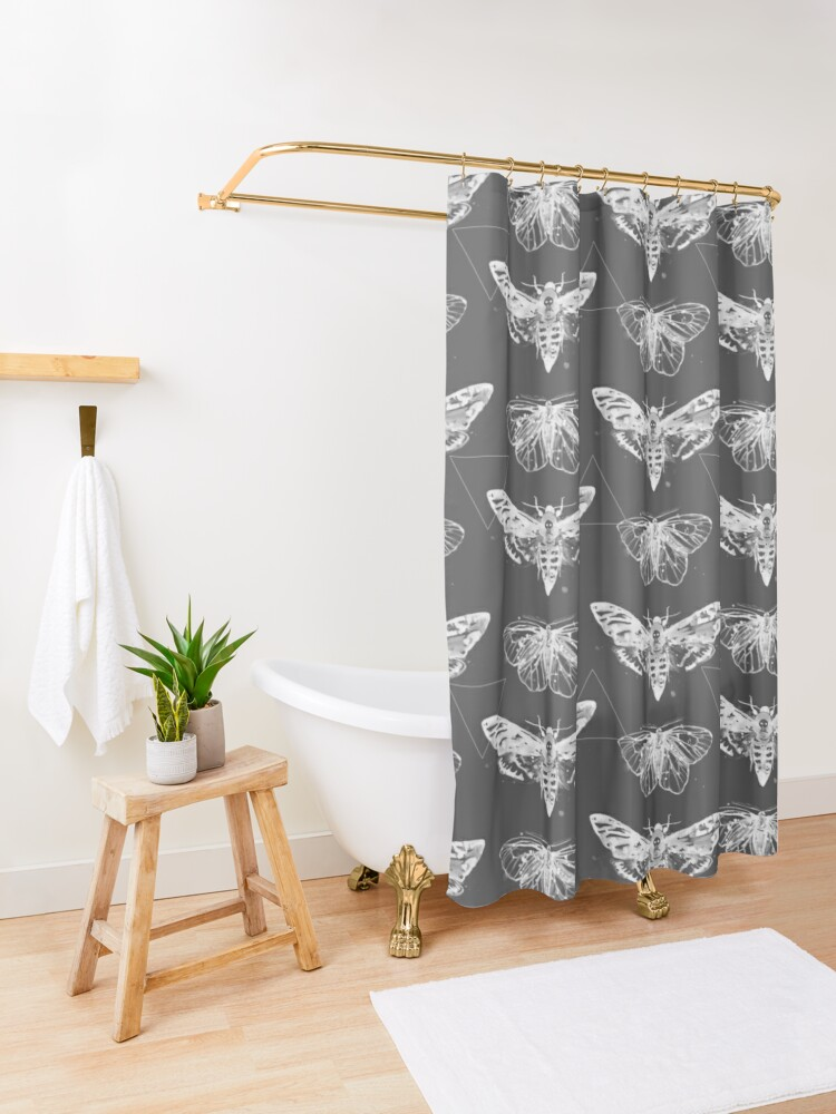 Alternate view of Geometric Moths - inverted Shower Curtain