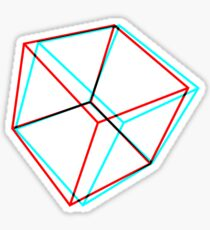 3D Red-Cyan Cube Sticker