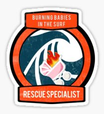 Burning Babies in the Surf Rescue Specialist Glossy Sticker