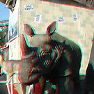 Rhino Mural in Anaglyph 3D by Tridib Ghosh