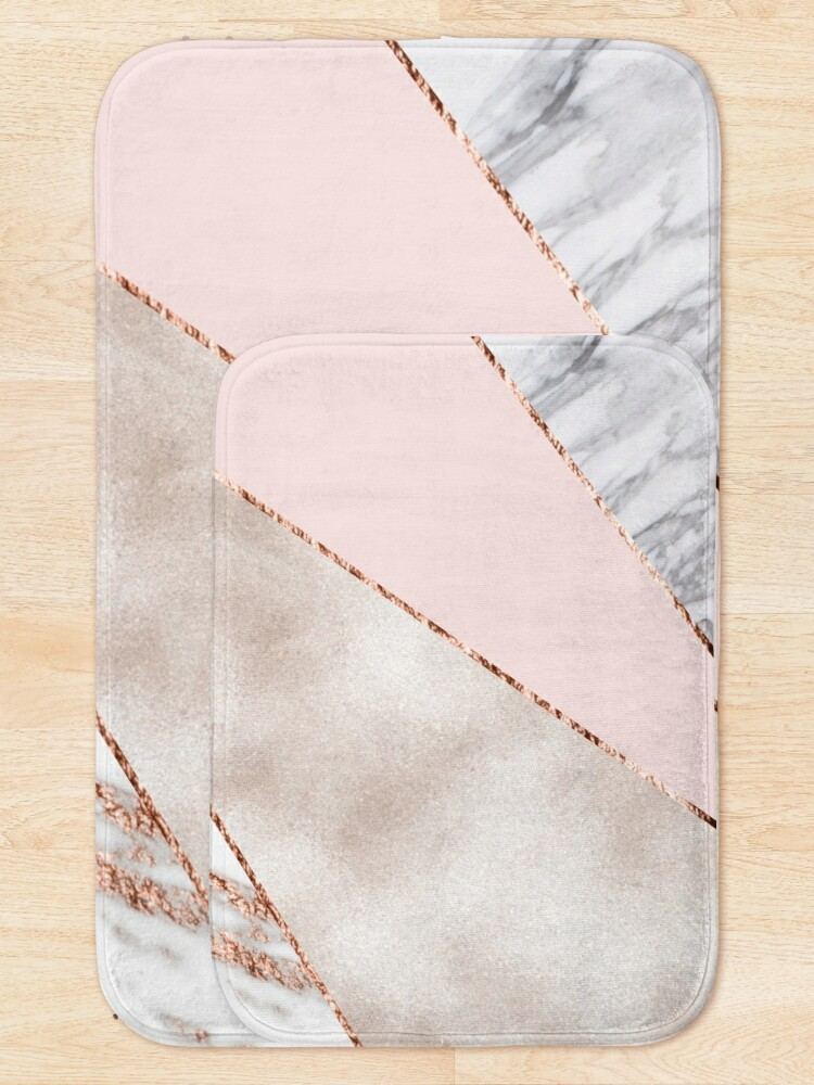 Alternate view of Spliced mixed rose gold marble Bath Mat