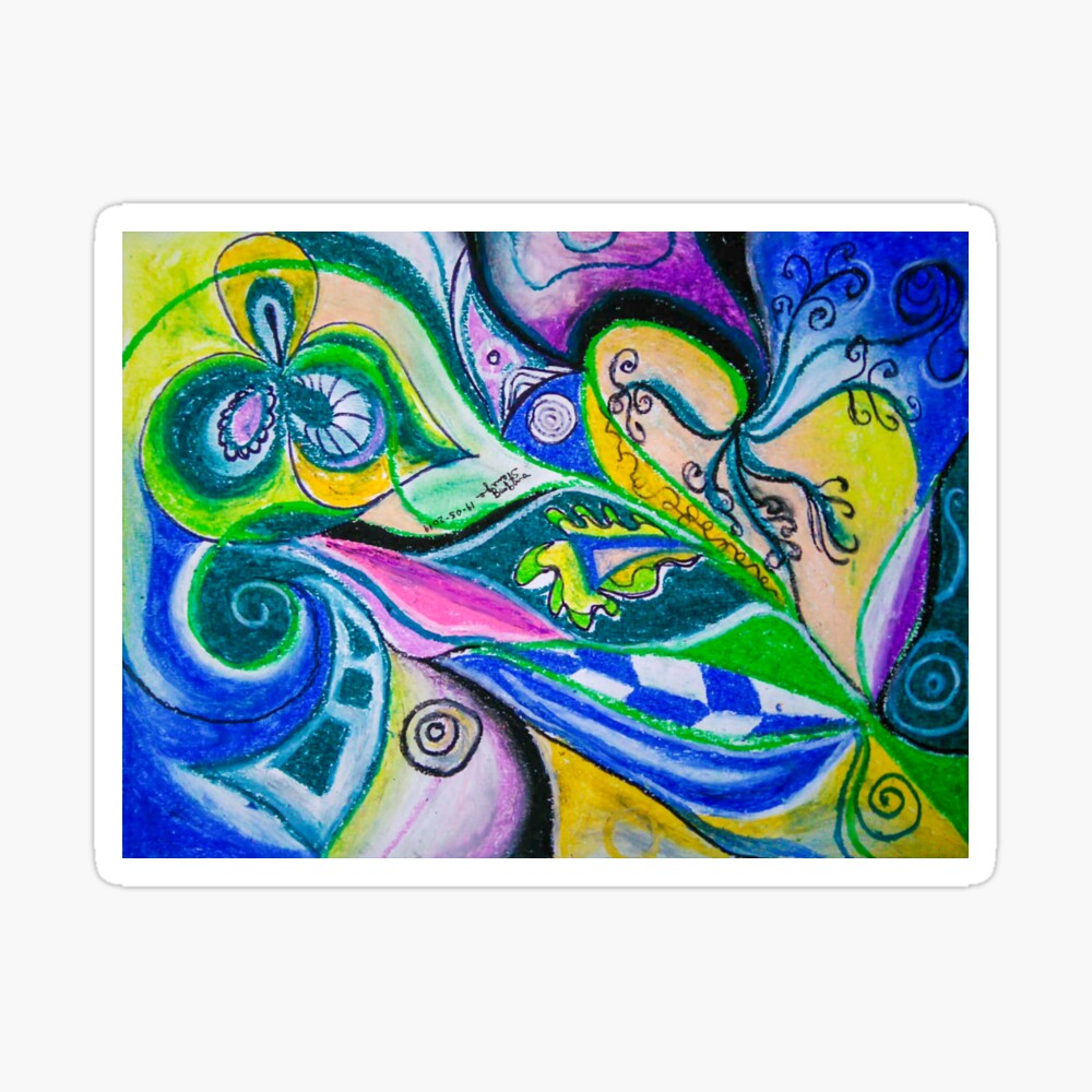Blue Green Tones Movement Abstract Sticker