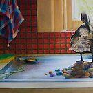 Peeking Duck, oil on canvas, 2006. by fiona vermeeren
