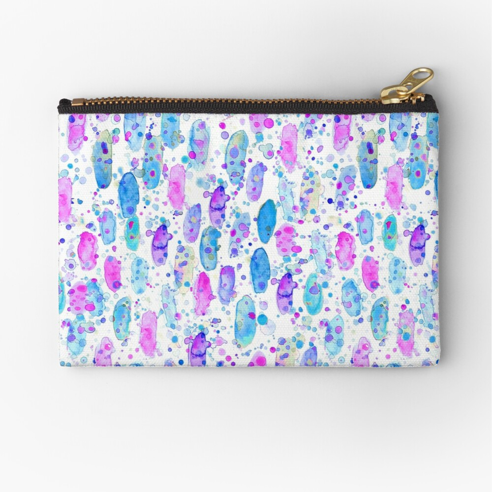 Abstract watercolor pink and blue Zipper Pouch