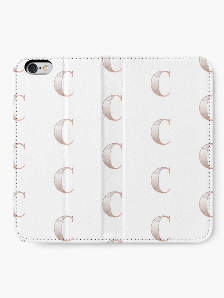 Alternative Ansicht von Monogramm Roségold Glitter Marmor C iPhone Flip-Case