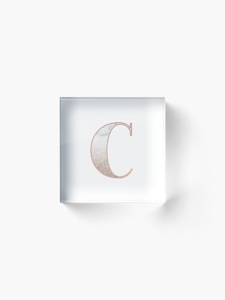 Alternative Ansicht von Monogramm Roségold Glitter Marmor C Acrylblock