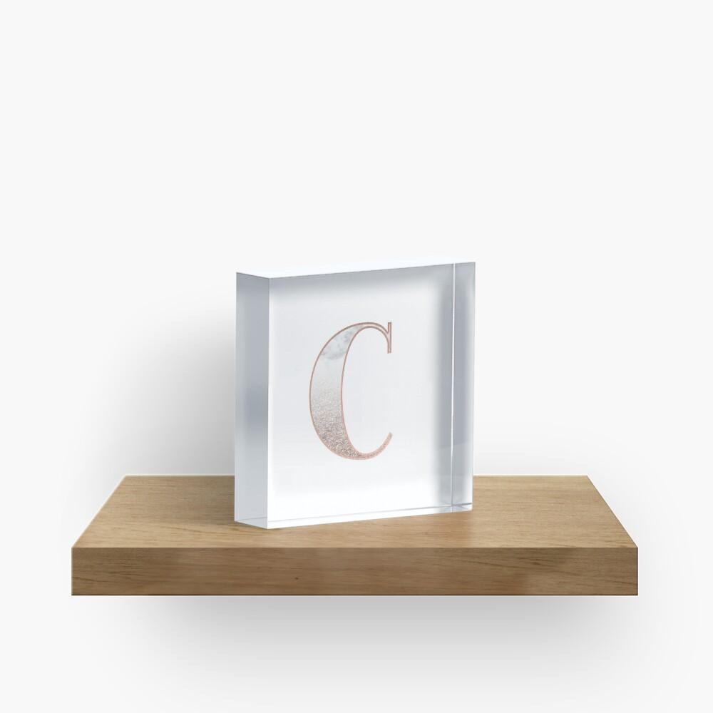 Monogramm Roségold Glitter Marmor C Acrylblock