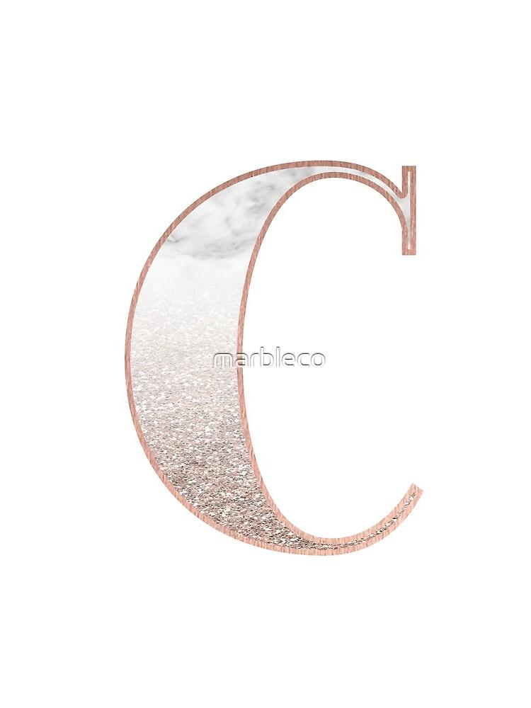Monogramm Roségold Glitter Marmor C von marbleco