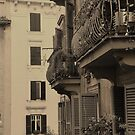Vintage sepia of balconies in Rome by revealedrome
