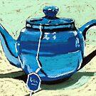 Tea time - blue teapot by ria hills