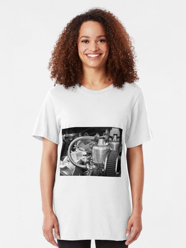 Alternate view of Classic MG Sports Car Engine Slim Fit T-Shirt