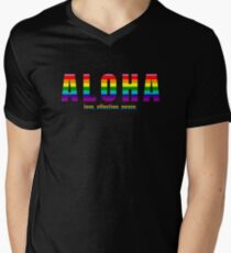 Aloha - Hawaiian Word Greeting and Love Affection Peace Pride Rainbow V-Neck T-Shirt
