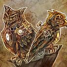 Two Clockwork Owls by Jessica Feinberg
