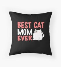 Best Cats Mom Throw Pillow