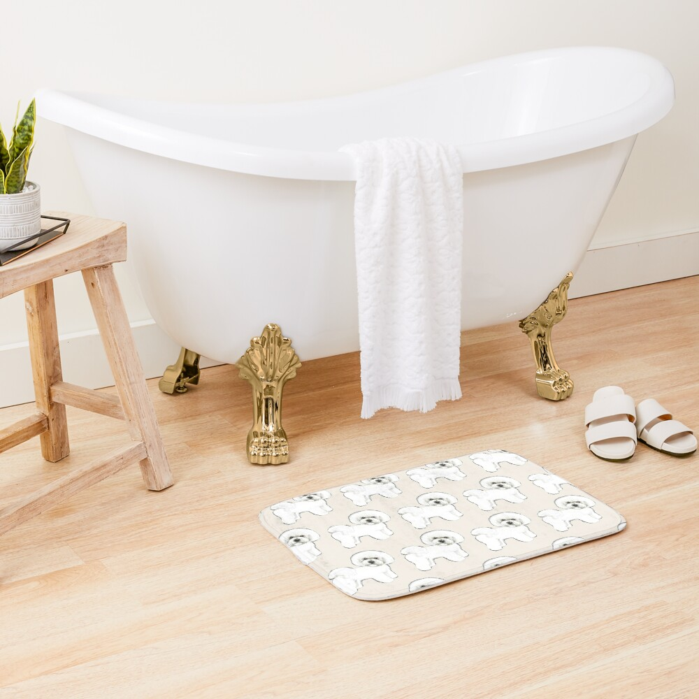Bichon Frise on Cream Bath Mat