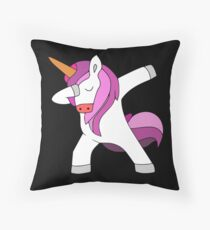 pink dabbing unicorn  Throw Pillow