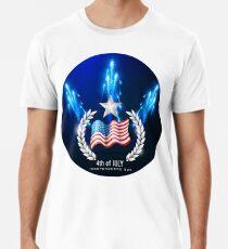 Camiseta premium 4 de julio bandera de América de fuegos artificiales del día de la independencia