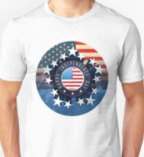 Camiseta ajustada 4 de julio bandera de América de fuegos artificiales del día de la independencia