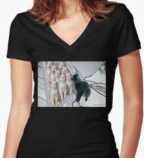 Schrodinger's Cat Had Nine Lives Women's Fitted V-Neck T-Shirt