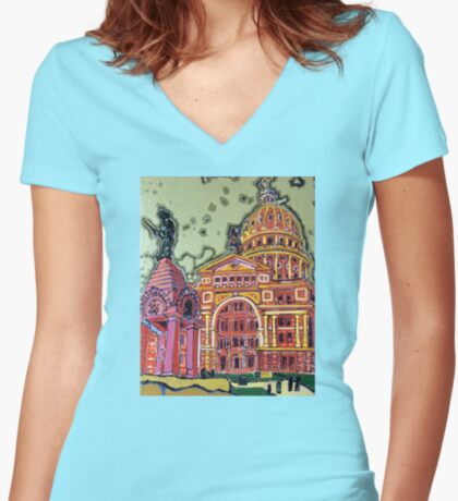 Defense! - Texas State Capitol - Austin, Texas Fitted V-Neck T-Shirt