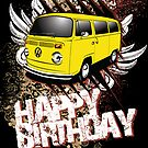 Volkswagen Birthday Card- yellow Bay by KombiNation