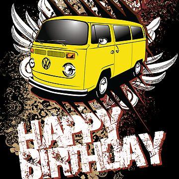 Volkswagen Birthday Card- yellow Bay by KombiNation