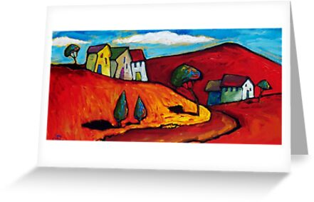 SUN ON A RED LANDSCAPE  by ART PRINTS ONLINE         by artist SARA  CATENA