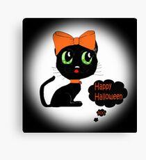 Anime Cat Halloween Canvas Print