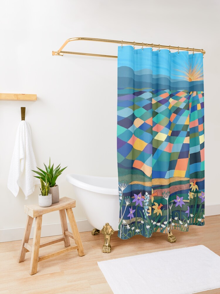 Alternate view of Bright Sun Shiny Day Shower Curtain