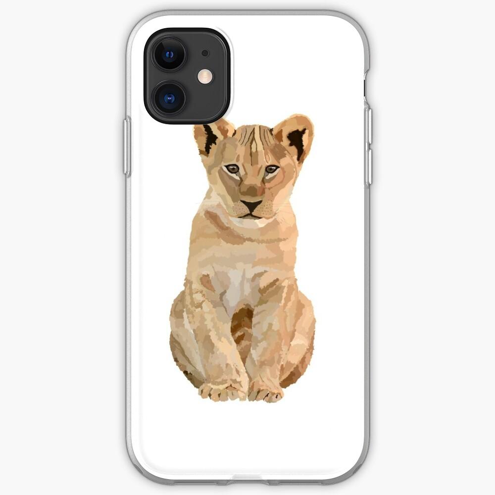 Baby lion illustration  iPhone Soft Case