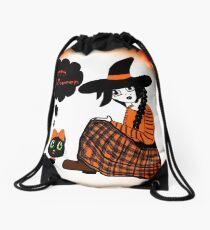 Anime Sitting Halloween Witch Drawstring Bag