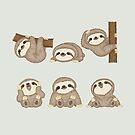 Sloth of various poses by Toru Sanogawa