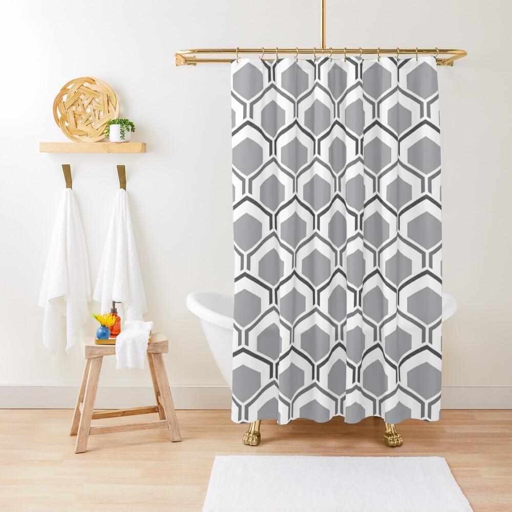 Mid Century Modern Hexagons Shower Curtain