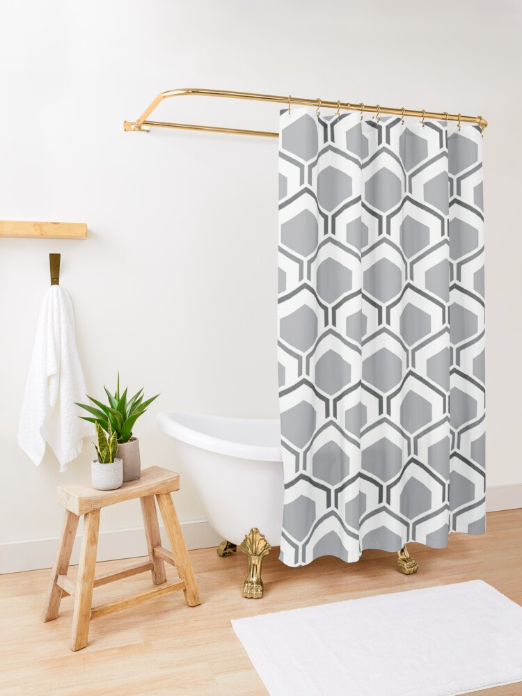 Alternate view of Mid Century Modern Hexagons Shower Curtain