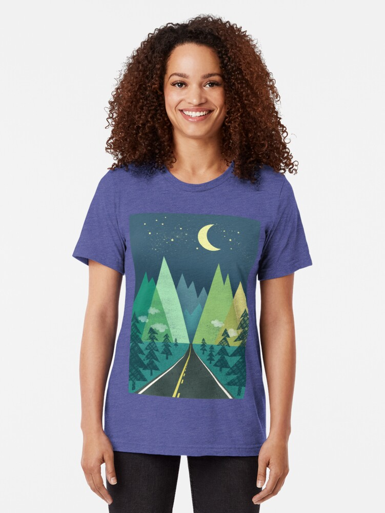 Alternate view of the Long Road at Night Tri-blend T-Shirt