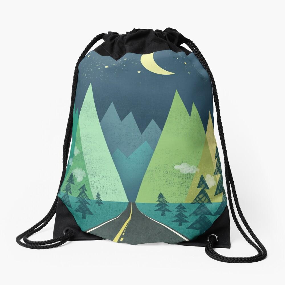the Long Road at Night Drawstring Bag