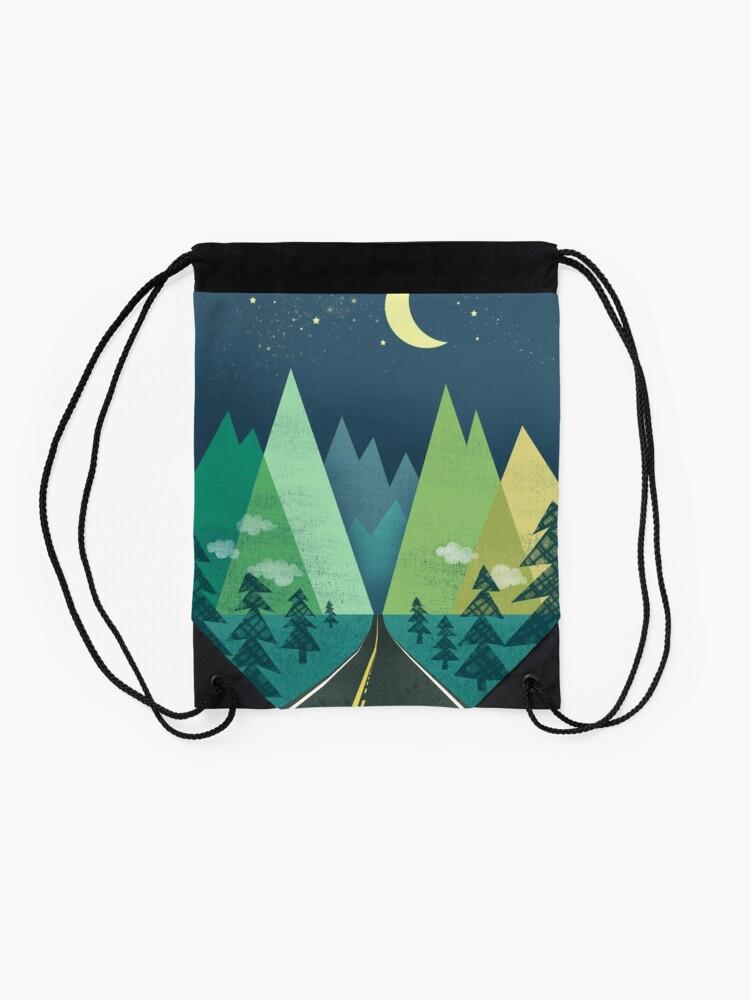 Alternate view of the Long Road at Night Drawstring Bag