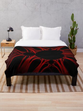 Red Kirlian Mandelbrot Throw Blanket
