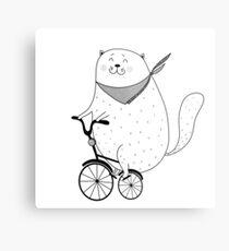 Bike cat Metal Print