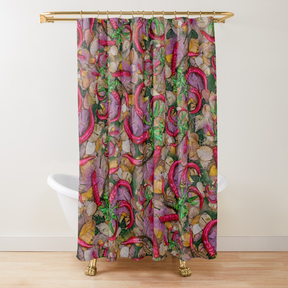 HOT SUMMER PEPPERS ON AUTUMN LEAVES Shower Curtain